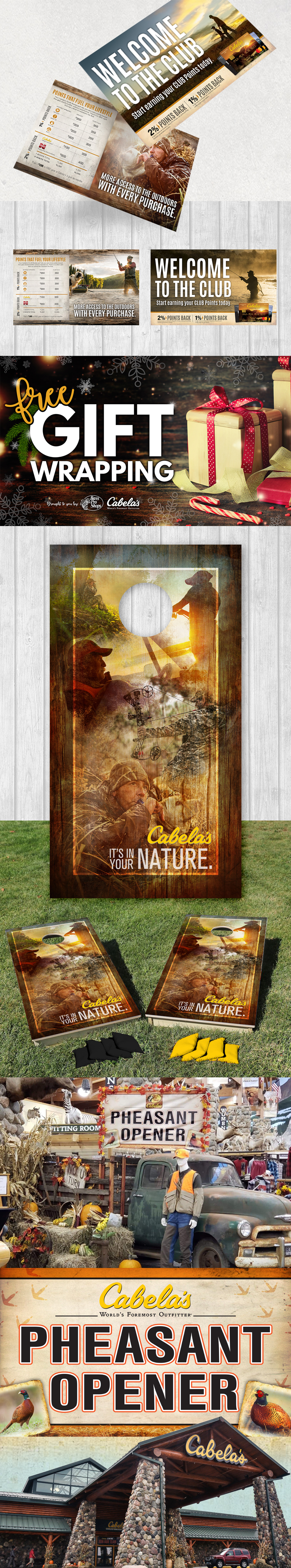 Cabela's artwork. Banners, postcards, and corn hole board