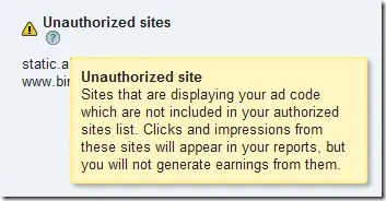 Google AdSense lists the sites
