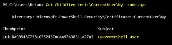 Result of Get-ChildItem cert:\CurrentUser\My -codesign command in PowerShell console