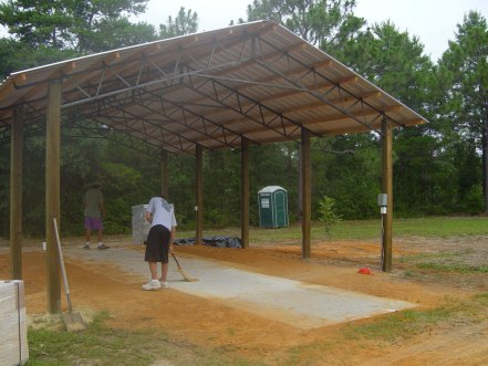 concrete pad and shed