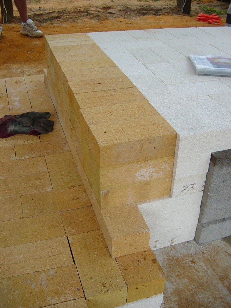hard brick layer over insulating brick