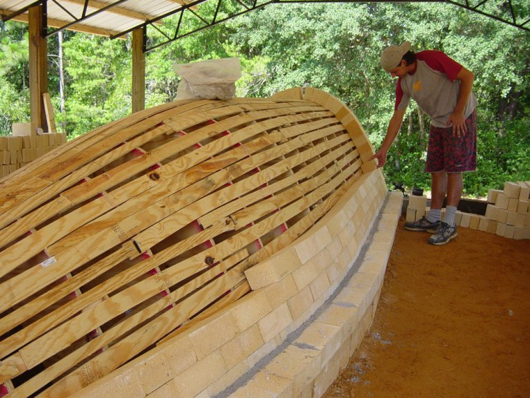 Jason Stokes working on first few rows on the arch