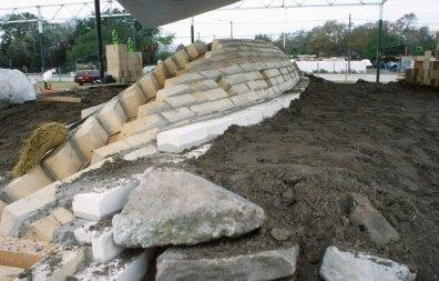 back filling earth around kiln