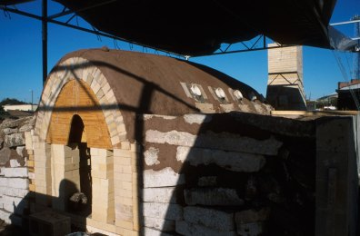 finished kiln before removing arch form and side stoke port forms