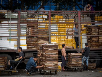 Workers Loading Truck, Seafood Market, Guangzhou, China (IMG_1598)