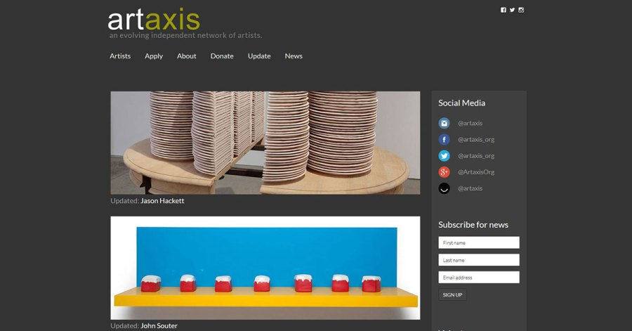 Artaxis screenshot - homepage