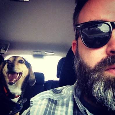 Oliver and I in the car