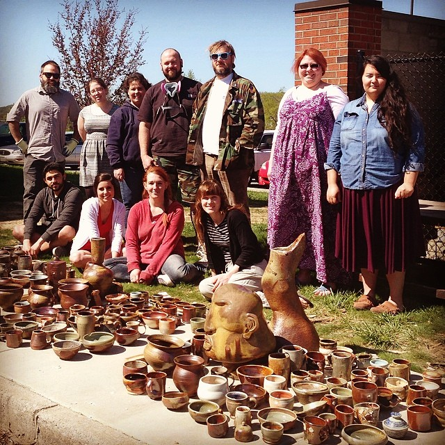 Me with students at the wood kiln