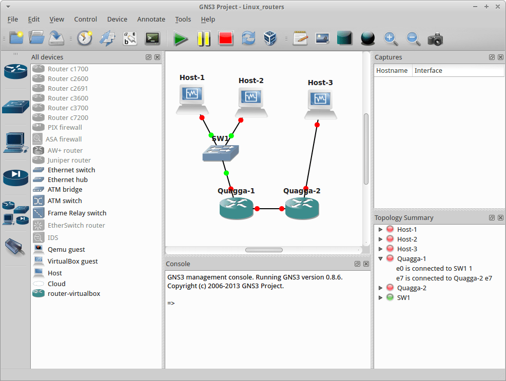 GNS3 network simulator with open-source Linux routers