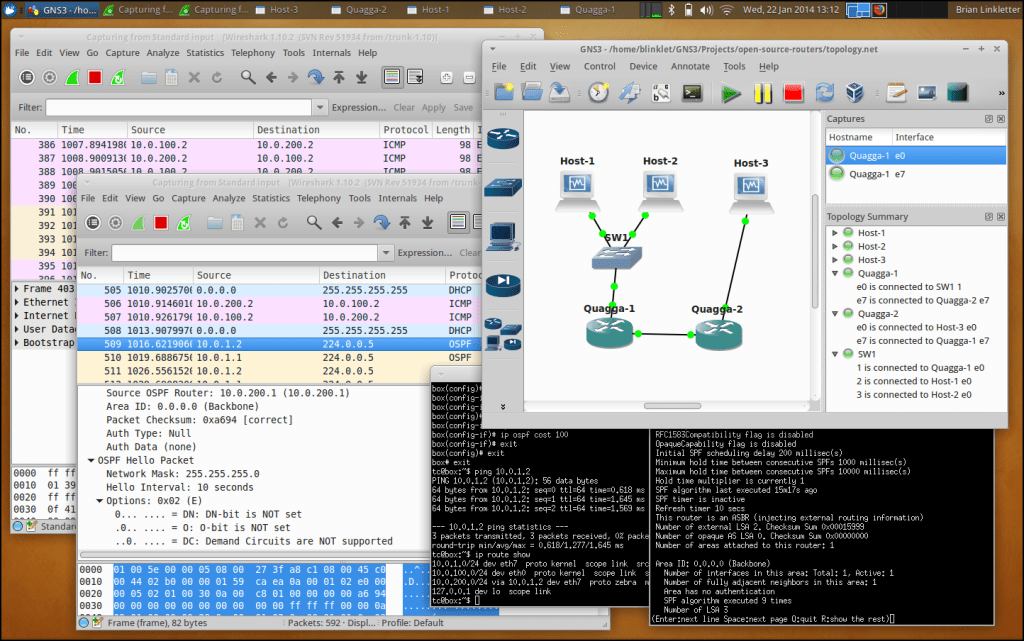 Open-source Linux GNS3 simulation