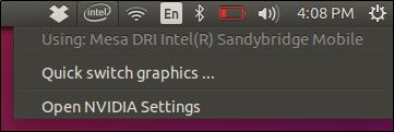 Intel/NVIDIA Optimus graphics status and switching