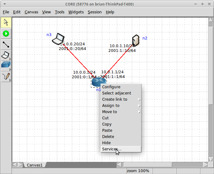 Open the services window on an L3 node, such as the router node
