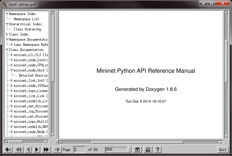 Mininet documentation in PDF viewer