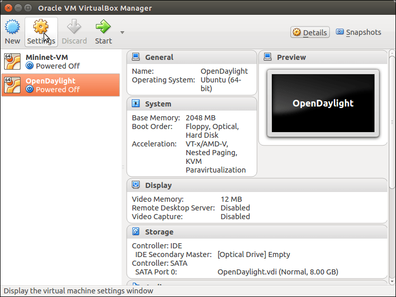 The OpenDaylight virtual machine