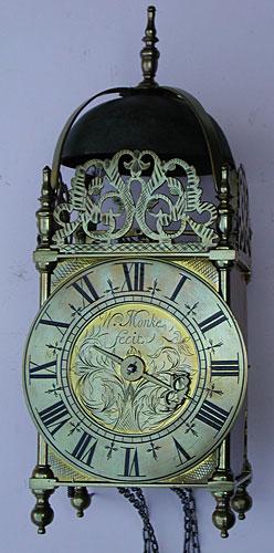 Lantern clock of about 1710 signed 'Wm. Monke fecit'
