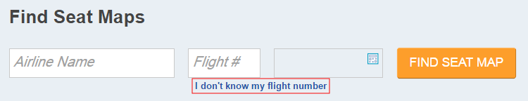 "Highlighted ""I don't know my flight number"" link"