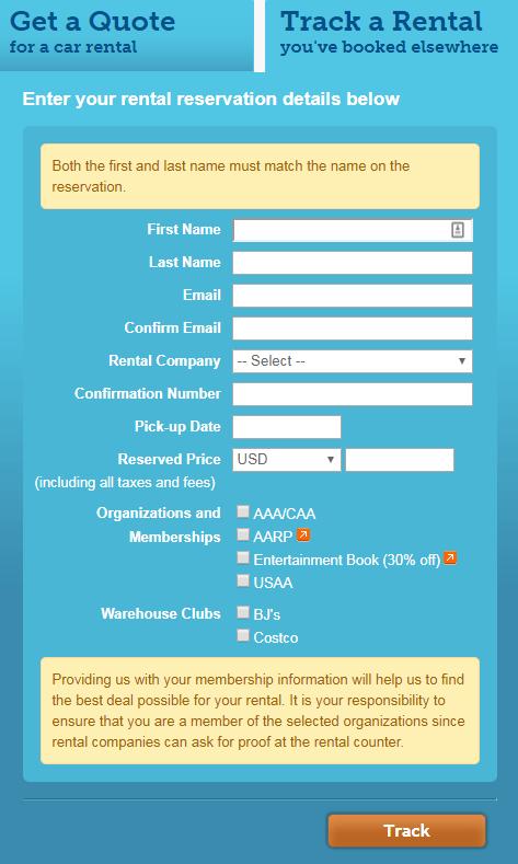 AutoSlash track a rental car information screen