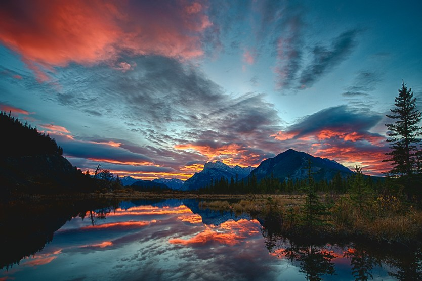 Mount Rundle Fire. A beautiful sunrise morning by Banff landscape photographer, Brian Merry