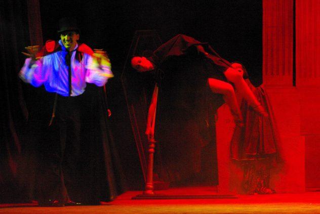 The Vampire Act.Brian suspends Lola. From the show The Ghost of De Vilhena at Manoel Theatre, Valletta Malta 2009. Photo Ivan Pierre Vella