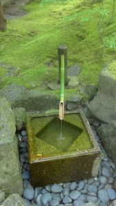 Bamboo fountain at the Japanese Garden Portland OR.