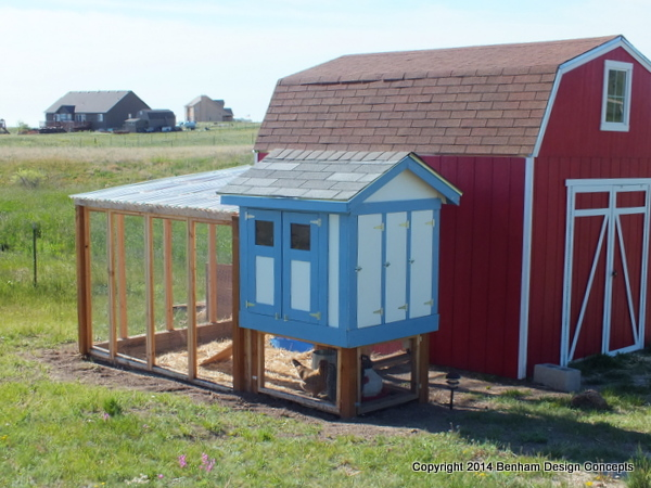 Completed chicken coop with run