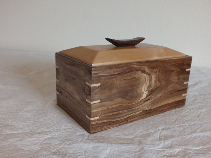 Box made from reclaimed flooring