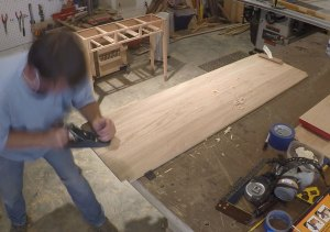 Flattening the top with a hand plane