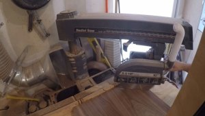 Cutting a 45 on a radial arm saw