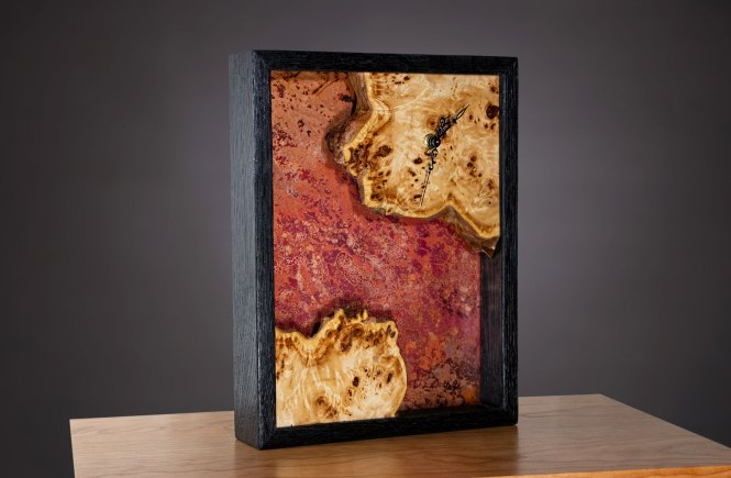 Burl Clock with Shou Sugi Ban Finished Frame and Copper with a Crazy Patina
