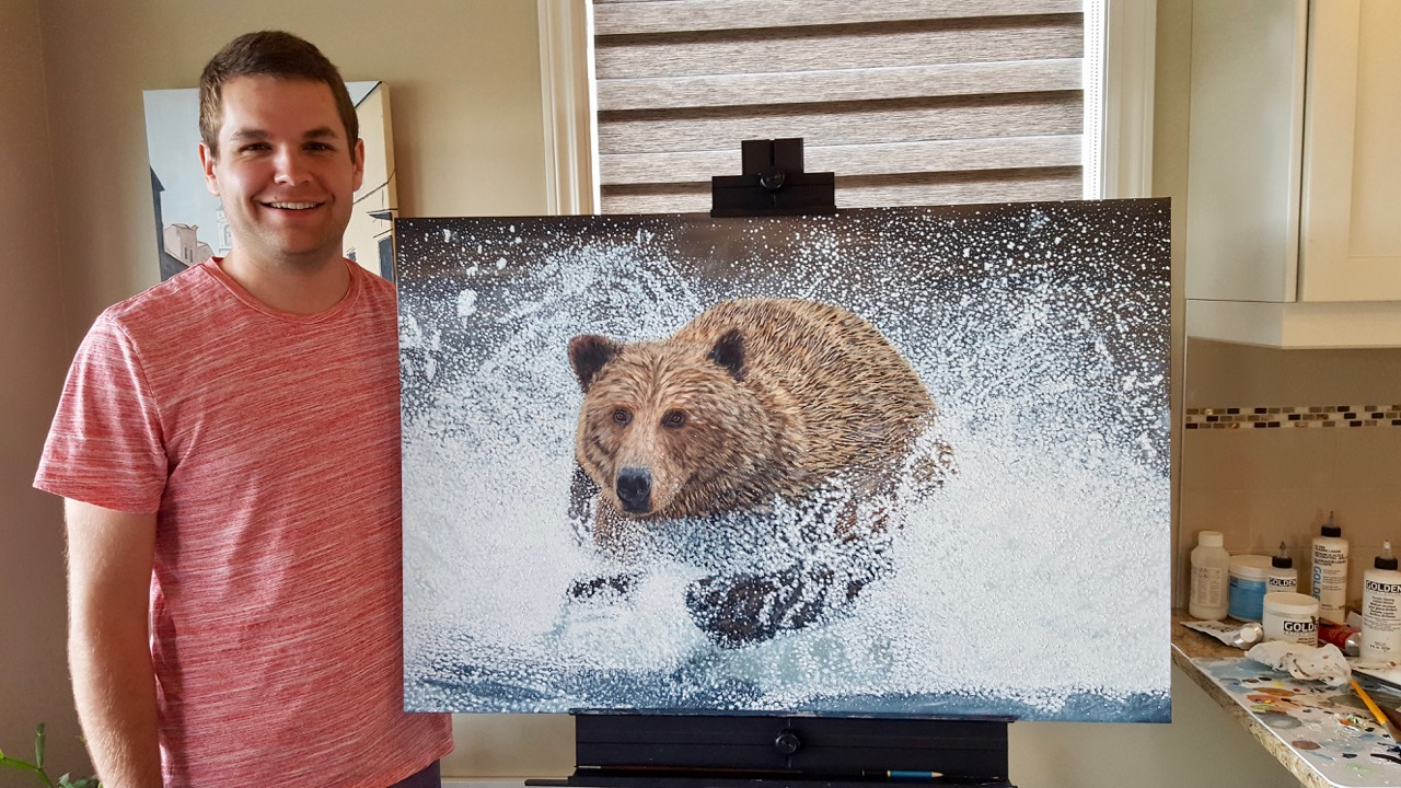 Grizzly Bear Running in the Water - Brian Sloan Artist