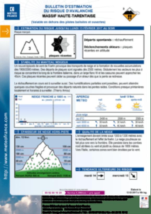 Météo France's official avalanche report