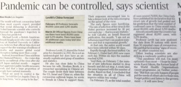 The Times coverage on March 24th of Michael Levitt's accurate forecast for China