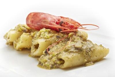 Paccheri pistacchio e gamberi