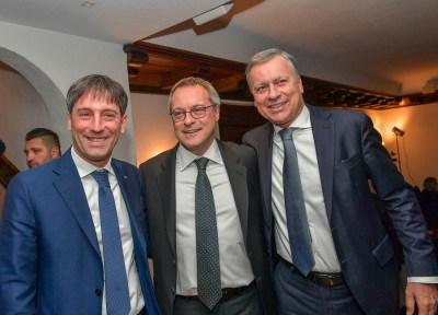 Il Presidente Bonomi al centro con al fianco il vicepresidente della Regione Lombardia Fabrizio Sala e il Sindaco di Monza Dario Allevi (a destra)