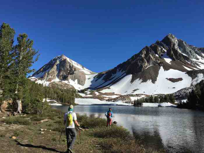 Arriving at Dorthy Lake. Red Slate Mountain on left.
