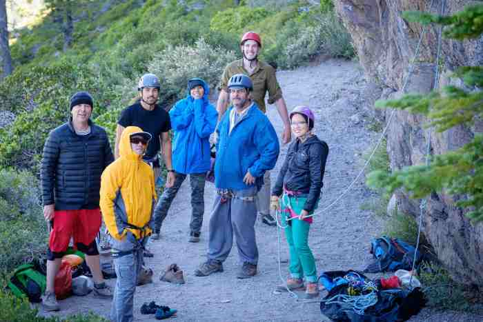 Most of the climbing crew under the Center Wall before the sun came to warm us up! There was a lot of room at the base of these climbs.