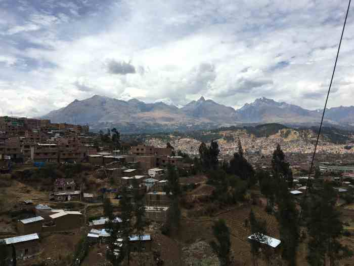 View from Los Olives of Huaraz as the sun starts setting.