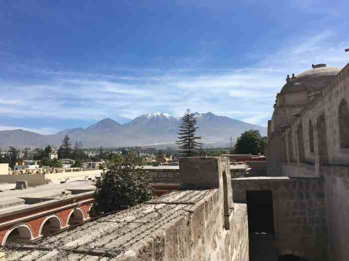 View of arequipa with distant volcano you can mountaineer