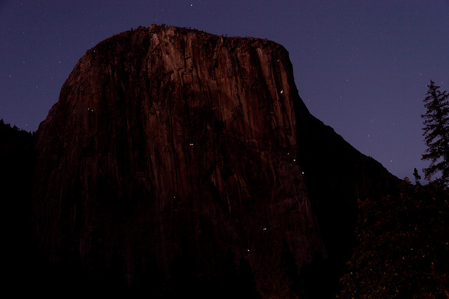 Now imagine 4x as many dots of lights moving around on El Cap. Photo by John Kinsella