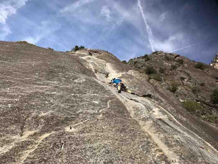 Climber leading Pitch 3 of Nutcracker