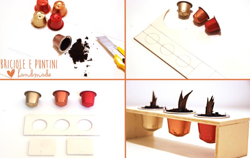 riciclo creativo capsule del caffè - vasetti per piante grasse