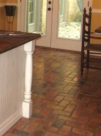 Reclaimed inside cut thin brick kitchen floor - Brick ...