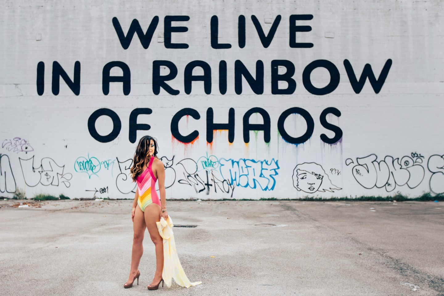 "Miami Street Art - five and Kemo ""We Live in A Rainbow of Chaos, 2014"