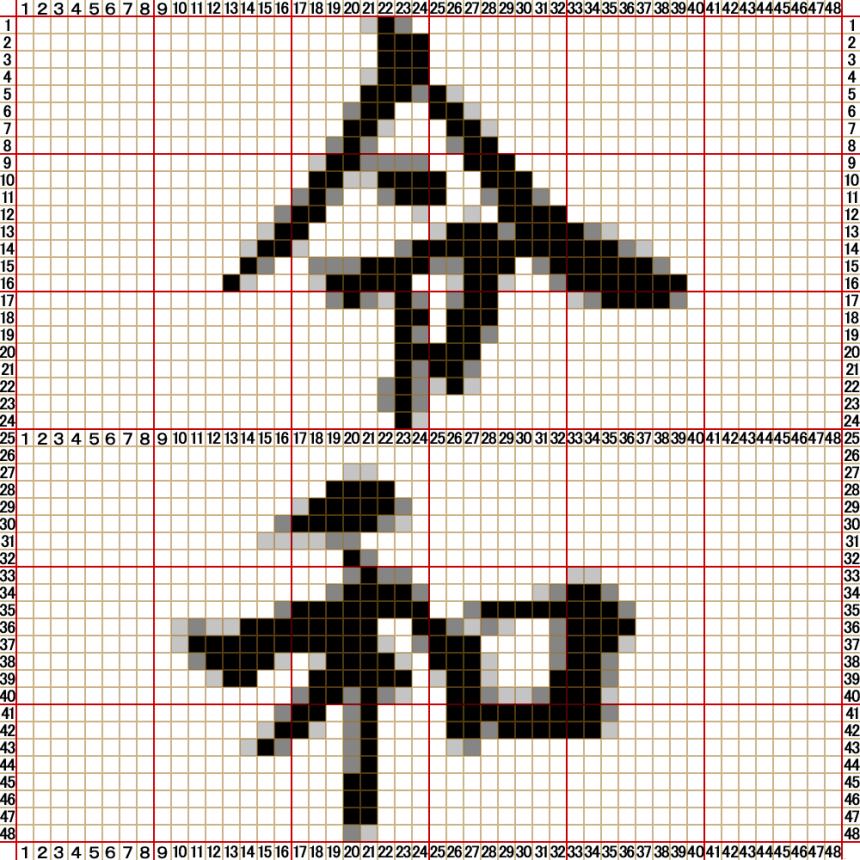48×48スタッドサイズの「令和」モザイクアートのパーツ配置図1。使用する色はホワイト、グレー、ダークグレーとブラックです。