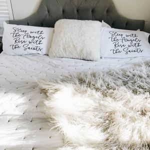 white cotton and poly pillowcases with quotes