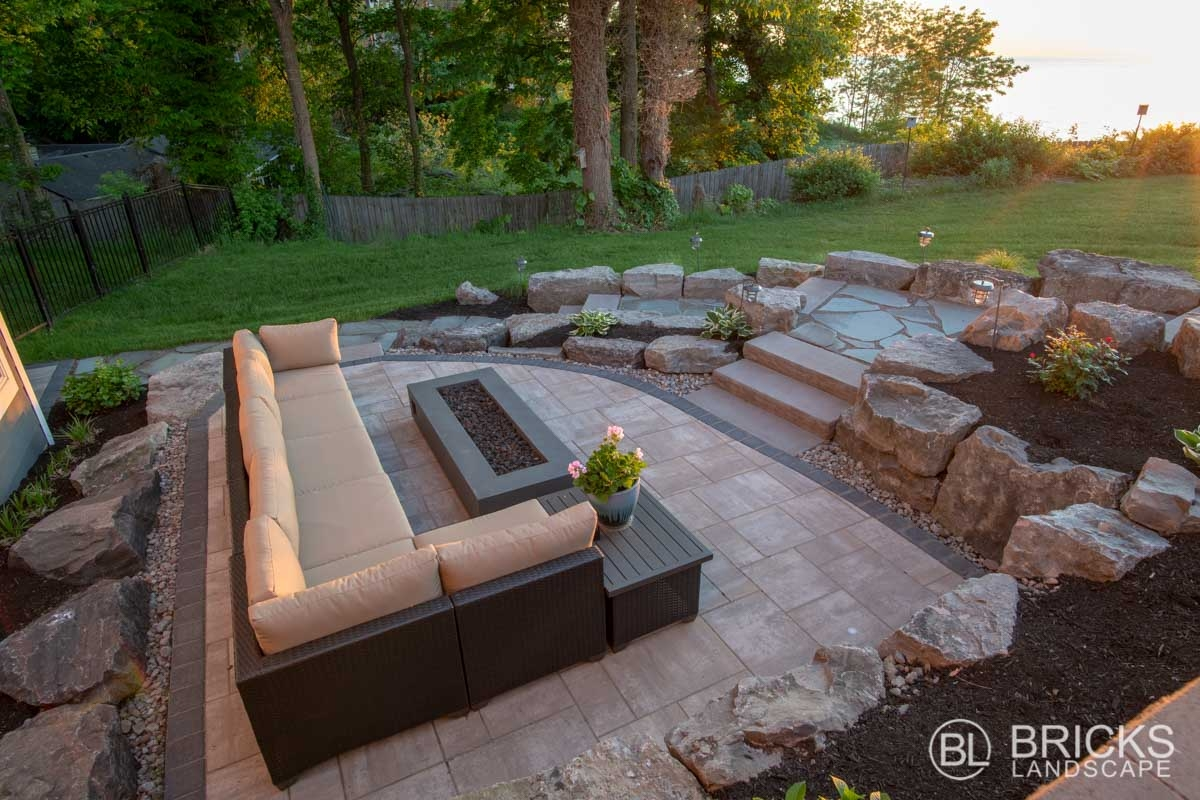 Lake House Pool Patio Retreat Brick S Landscape   Patio With Stairs From House   Concrete Slab   Simple   Back Yard   Composite Decking   Main Entrance Stamped Concrete Front