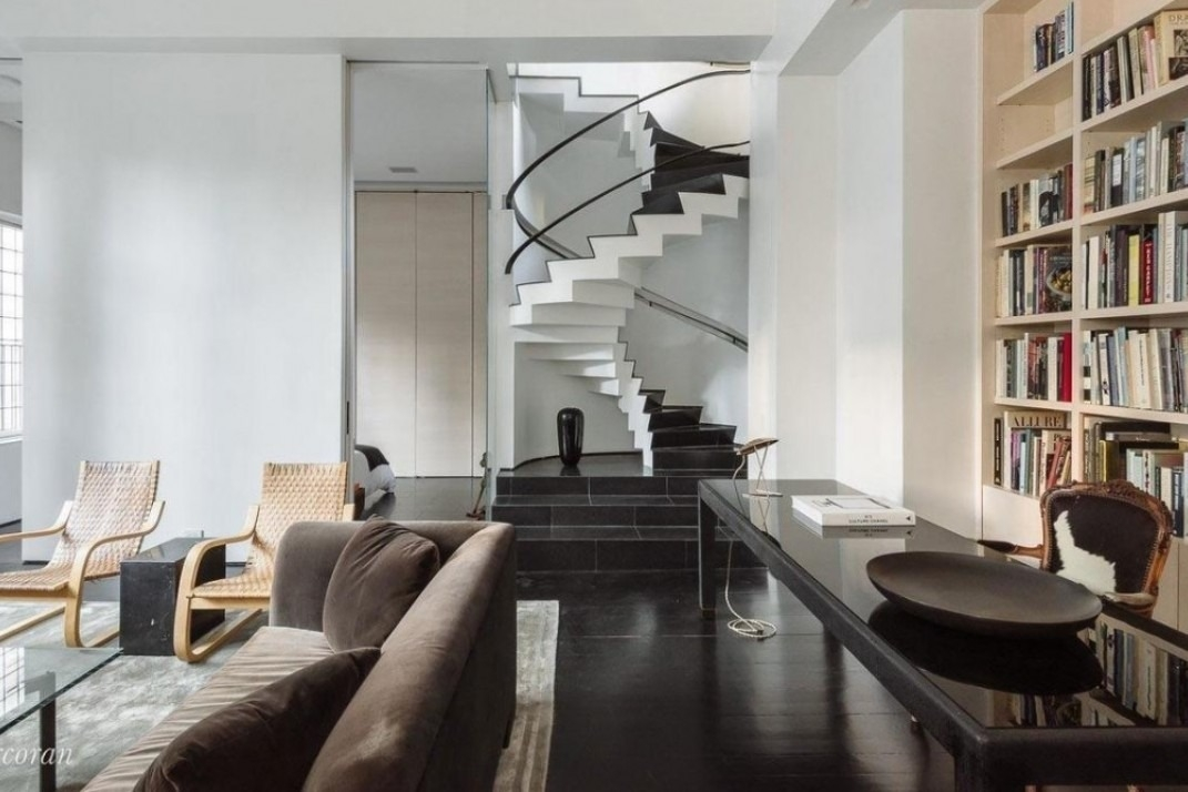 What You Need To Know About Buying A Duplex In Nyc | Duplex Living Room With Stairs | Modern | Single Room | Duplex Step | Indoor | Balcony
