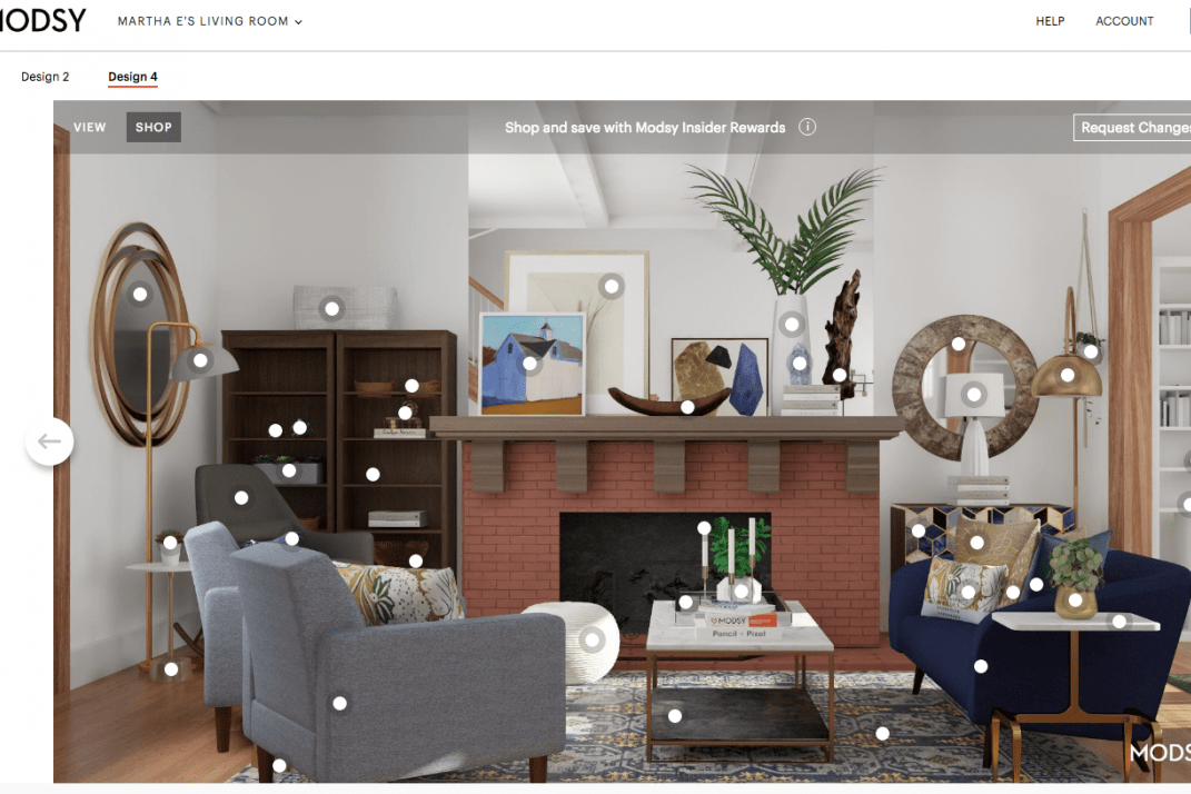 how to design my living room round coffee table i redesigned awkward with modsy s virtual interior designers