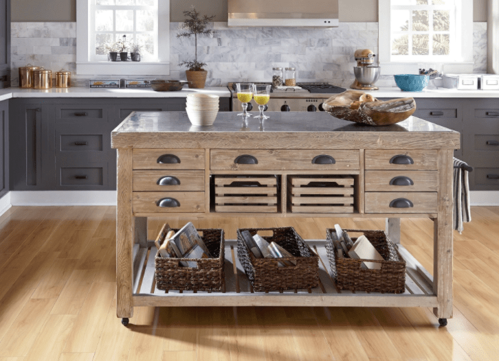 moveable kitchen island base cabinet depth 8 portable islands to turn your into a feast option or one that can hold its own in massive the kosas home deni washed grey blue stone and reclaimed pine 1 699 49
