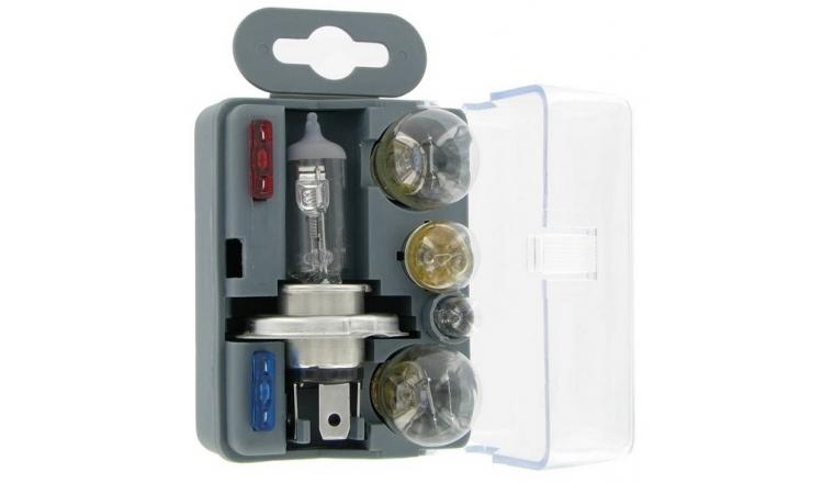 coffret ampoule h4 12v de secours 5 lampes 2 fusibles